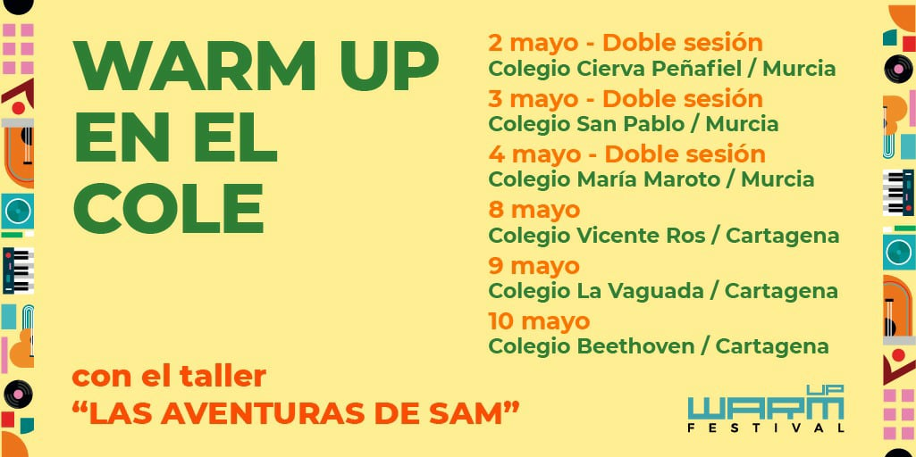 cartel warm up en el cole